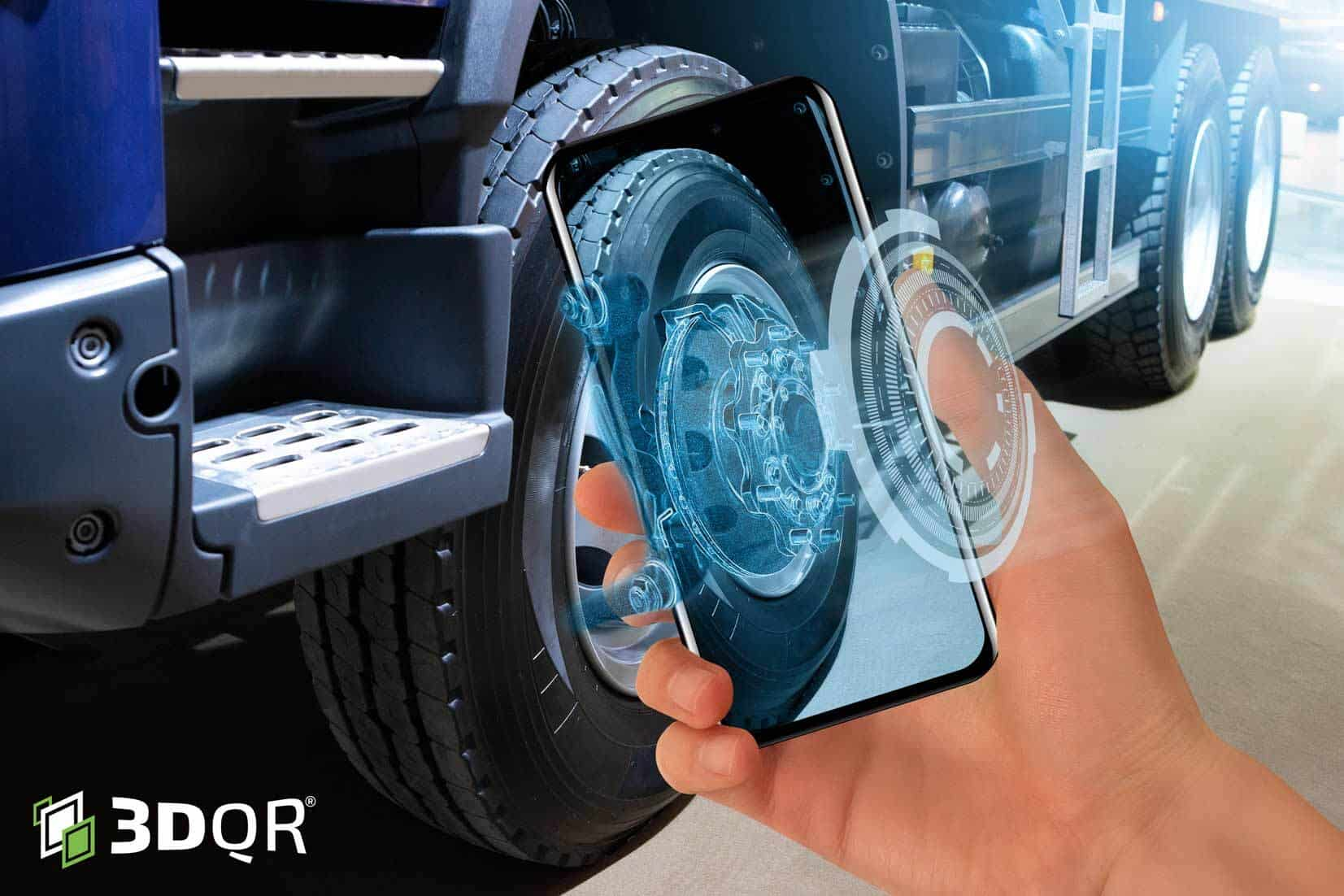 a phone showing parts of a vehicle's wheel in AR